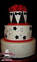 Celebrate your Wedding with an Tuxeto textured White Wedding Cake with Stars and Streamers