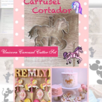 M Unicorn Carousel Cutter Set is shown with intended result, both separate and at an event.
