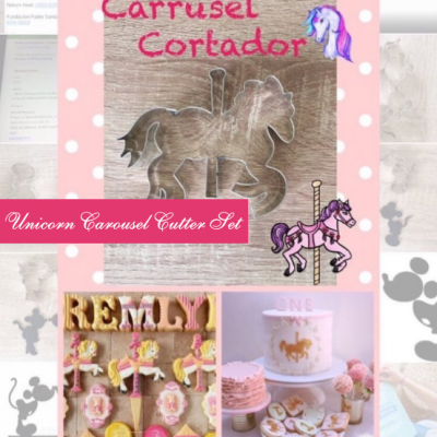 M Unicorn Carousel Cutter Setis shown with intended result, both separate and at an event.