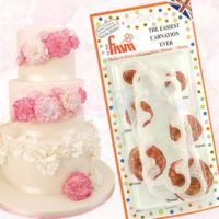 Cake is shown along with fmm easiest carnation ever cutter and end result.